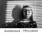 black and white portrait of a... | Shutterstock . vector #795114034