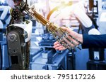 cyber communication and robotic ...   Shutterstock . vector #795117226