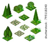 garden or farm isometric tile... | Shutterstock .eps vector #795118240