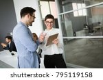 business people having fun in... | Shutterstock . vector #795119158