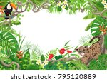 horizontal tropical floral... | Shutterstock .eps vector #795120889