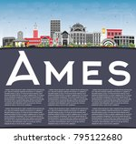 ames iowa skyline with color... | Shutterstock .eps vector #795122680