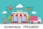 storefront in city  store... | Shutterstock .eps vector #795126853