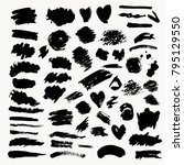set of black paint brushes... | Shutterstock .eps vector #795129550