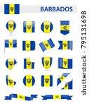 barbados flag set   vector... | Shutterstock .eps vector #795131698