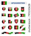 afghanistan flag set   vector... | Shutterstock .eps vector #795132628