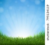 grass and sky with gradient... | Shutterstock .eps vector #795134119