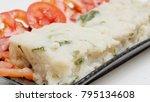 vegetarian food fried radish... | Shutterstock . vector #795134608
