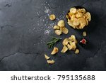 bowl of home made potato chips...   Shutterstock . vector #795135688