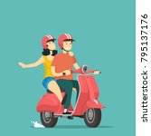 boy and girl rides on scooter.... | Shutterstock .eps vector #795137176