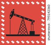 oil rig icon flat. simple black ... | Shutterstock .eps vector #795142360