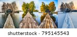 four seasons. picturesque small ... | Shutterstock . vector #795145543