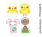 easter icon set. pixel art. old ... | Shutterstock .eps vector #795146878