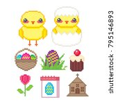 easter icon set. pixel art. old ... | Shutterstock .eps vector #795146893