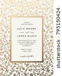 Vintage Wedding Invitation template with golden floral background. Vector illustration | Shutterstock vector #795150424