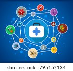 medical flat icon concept.... | Shutterstock .eps vector #795152134