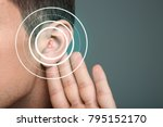 young man with symptom of... | Shutterstock . vector #795152170