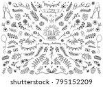 hand sketched floral design... | Shutterstock .eps vector #795152209
