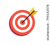 arrow in center of board. flat... | Shutterstock .eps vector #795152578