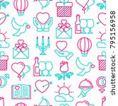 romantic seamless pattern with... | Shutterstock .eps vector #795156958