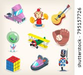set of colorful toys for kids... | Shutterstock .eps vector #795157726