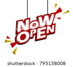 red and yellow tag now open | Shutterstock .eps vector #795158008