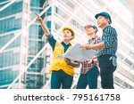 group of engineer man and woman ... | Shutterstock . vector #795161758