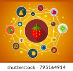 vegetables and fruits flat icon ...   Shutterstock .eps vector #795164914