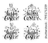 set of vector hand drawn bunny  ...   Shutterstock .eps vector #795171259