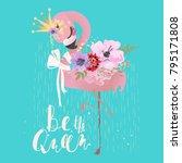 cute flamingo pink baby... | Shutterstock .eps vector #795171808