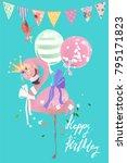 cute flamingo pink baby... | Shutterstock .eps vector #795171823