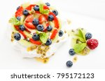 pavlova  a home made cake from... | Shutterstock . vector #795172123