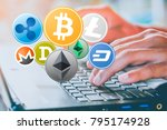 set of cryptocurrency and... | Shutterstock . vector #795174928