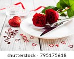 romantic table setting with red ... | Shutterstock . vector #795175618