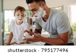 father and son applying shaving ... | Shutterstock . vector #795177496