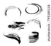 set of black brush strokes.... | Shutterstock .eps vector #795180118