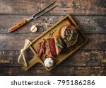 sliced grilled marbled meat... | Shutterstock . vector #795186286