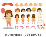 girl kid playing games and toys ...   Shutterstock .eps vector #795189766
