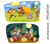 kids summer camping vector... | Shutterstock .eps vector #795189769