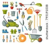 Stock vector garden tool vector gardening equipment rake or shovel and lawnmower of gardener farm collection or 795191038