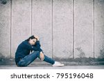 a teenage girl with depression... | Shutterstock . vector #795196048