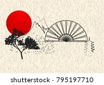 japan style elements with sun... | Shutterstock .eps vector #795197710