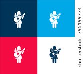 woman playing guitar four color ...