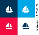 sailing boat four color...