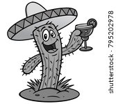 cactus with margarita... | Shutterstock .eps vector #795202978