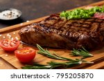 grilled black angus steak with... | Shutterstock . vector #795205870