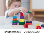 two years old child boy playing ... | Shutterstock . vector #795209620
