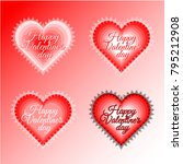 flat gradient heart with lace...   Shutterstock .eps vector #795212908
