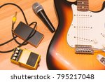 set of music objects with... | Shutterstock . vector #795217048