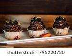 chocolate capkake with cream... | Shutterstock . vector #795220720